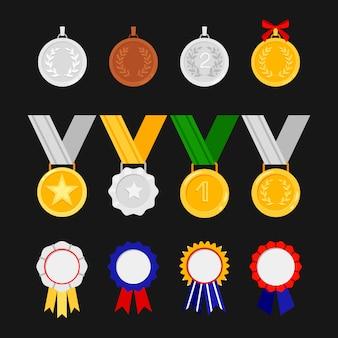 Órdenes y medallas aisladas sobre fondo negro. conjunto de iconos de premios