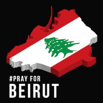 Ore por la ilustración de beirut con el mapa de beirut sobre fondo negro concepto de oración, luto, humanidad por la explosión masiva de beirut, líbano