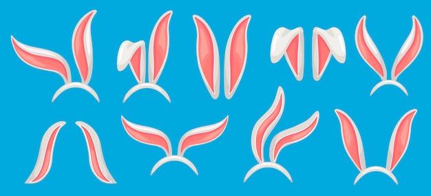 Orejas de conejo, máscara de conejos de pascua, sombrero de oreja de conejo divertido y banda de conejo de primavera, conjunto aislado de máscaras de conejos