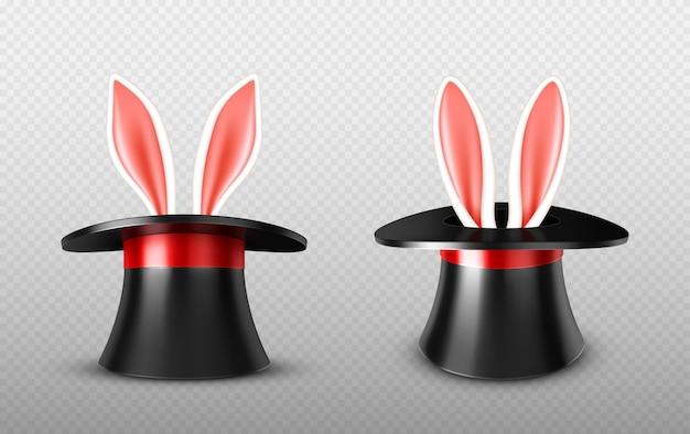 Orejas de conejo sobresalen del sombrero de mago
