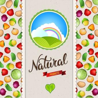 Orgánica, bio, plantilla de diseño de alimentos naturales.