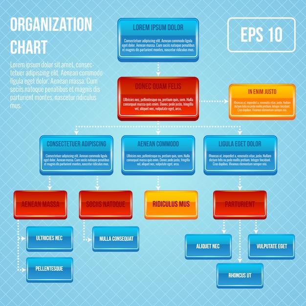 Organigrama 3d concepto negocio jerarquía de trabajo estructura de flujo ilustración vectorial