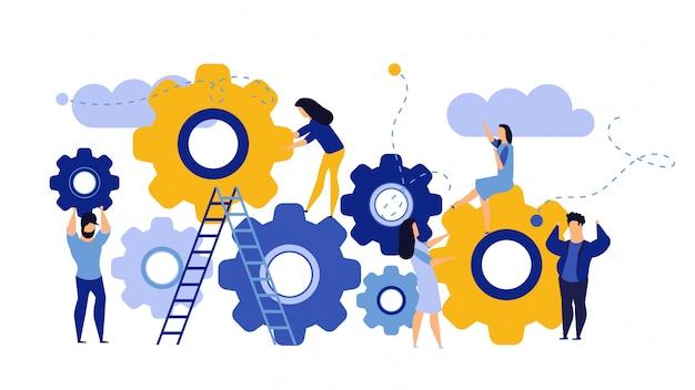 Organización empresarial de hombre y mujer con engranaje circular