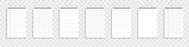 Organizador o cuaderno en blanco. conjunto de plantilla cuaderno de hojas de papel. ilustración vectorial