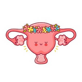Órgano de útero mujer divertida feliz linda en guirnalda de flores.