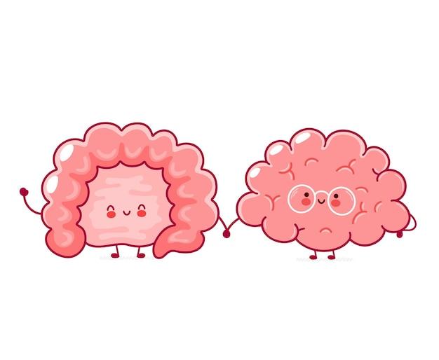 Órganos del cerebro y del intestino humano feliz divertido lindo