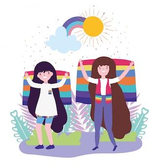 Orgullo desfile comunidad lgbt, mujeres con bandera diversidad libertad
