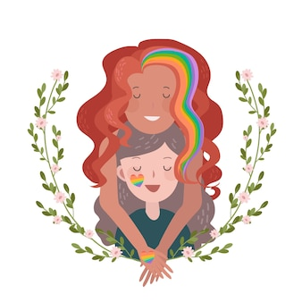 Orgullo día concepto pareja de lesbianas