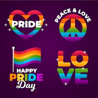 Orgullo día etiquetas diseño del arco iris