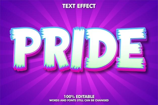 Orgullo, efecto de texto editable moderno