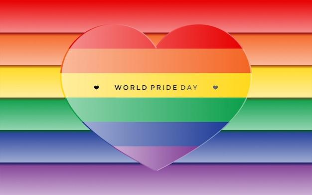 Orgullo lgbt colorido con corazón en estilo de papel artesanal