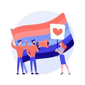 Orgullo lgbt. igualdad gay. lesbianas, gays, bisexuales, transgénero. personas homosexuales con piquetes de bandera de colores del arco iris. movimiento de derechos lgbt. ilustración de metáfora de concepto aislado de vector