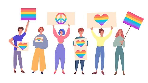 Orgullo lgbt con personas con carteles de arco iris plano aislado