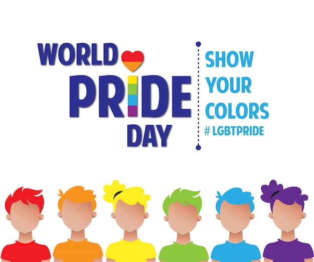 Orgullo lgbt de rainbow pride day world people