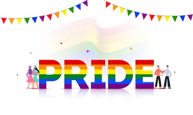 Orgullo de texto en color arco iris con gays y lesbianas.