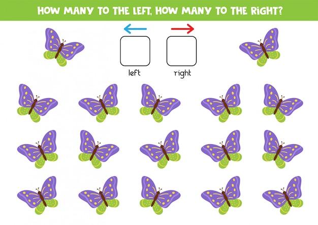 Orientación espacial para niños. cuántas mariposas vuelan a la derecha y cuántas a la izquierda.