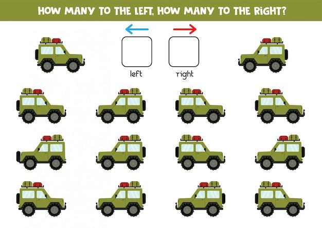 Orientación espacial para niños. cuántos autos a la izquierda y a la derecha.