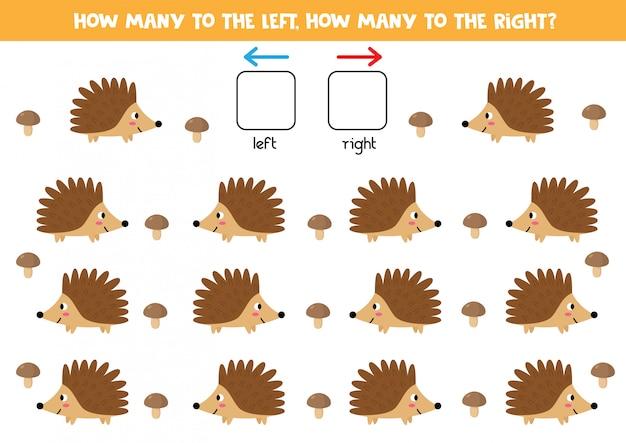 Orientación espacial para niños. izquierda o derecha. erizos de dibujos animados lindo