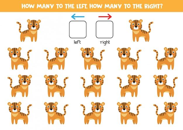 Orientación espacial para niños. izquierda o derecha. tigre de dibujos animados lindo