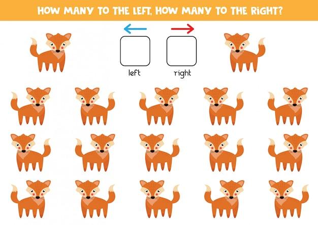 Orientación espacial para niños. izquierda o derecha. zorro rojo de dibujos animados lindo