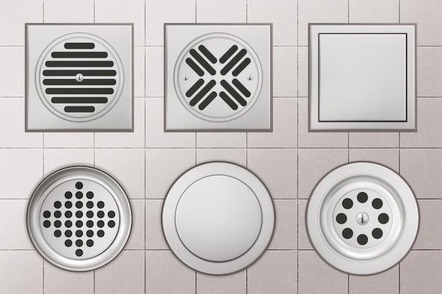 Orificios de drenaje de ducha con cubiertas de acero inoxidable sobre fondo de piso de baldosas blancas, alcantarillas de drenaje de forma redonda y cuadrada para vista superior de inodoro, baño o lavabo, ilustración vectorial 3d realista
