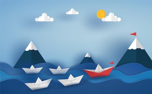 Origami barco rojo y equipo en el océano en las olas del mar. diseño de ilustrador de vectores en concepto de corte de papel.