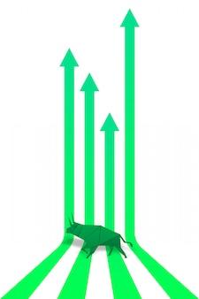 Origami bull paper art y green arrow paper art para vector de mercado bursátil e ilustración