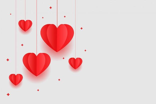 Origami corazones rojos diseño de fondo del día de san valentín