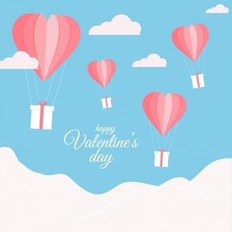 Origami globos de aire caliente de papel con cajas de regalo y nubes sobre fondo azul y blanco para la celebración del día de san valentín feliz.