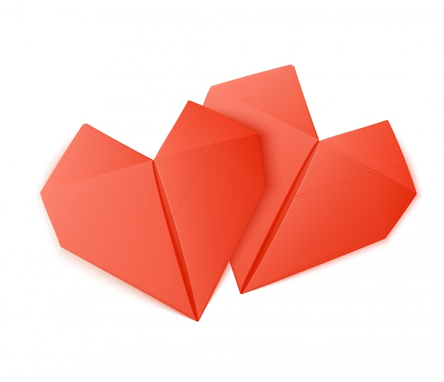 Origami heart shapes