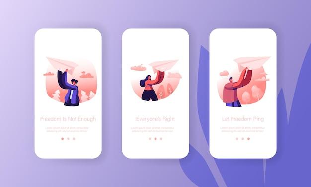 Origami hobby o lanzamiento de un nuevo conjunto de pantallas integradas de la página de la aplicación móvil de inicio de negocios.