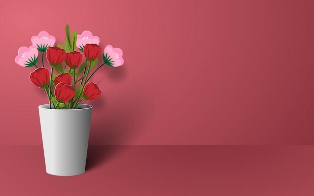 Origami papel arte de flor en florero.