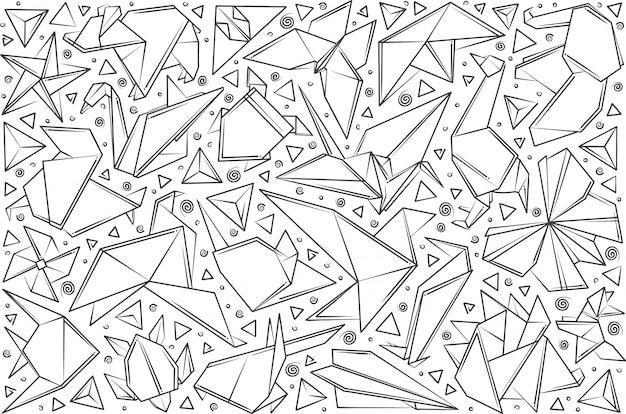 Origami de papel dibujado a mano.