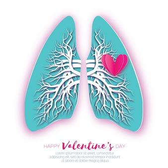 Origami de pulmones. amor corazon. anatomía de pulmones humanos con corte de papel azul con árbol bronquial