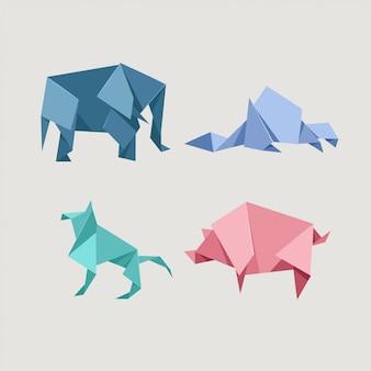 Origami wild y conjunto de animales de granja