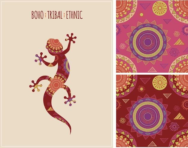 Origen étnico tribal bohemio con lagarto y patrones