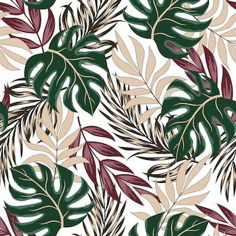 Original patrón tropical transparente con hojas y plantas brillantes sobre un fondo blanco.