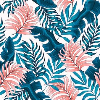Original patrón tropical transparente con plantas brillantes y hojas sobre un fondo claro