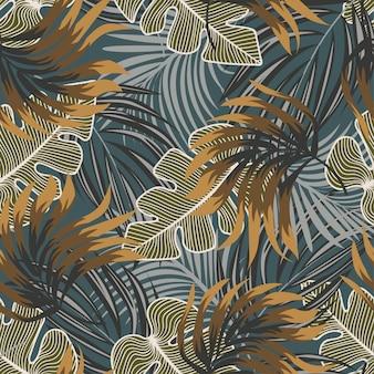 Original de patrones sin fisuras abstractas con coloridas hojas y plantas tropicales sobre fondo azul