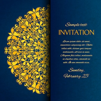 Ornamental azul con tarjeta de invitación de bordado de oro