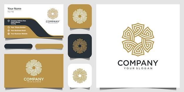 Ornamento abstracto forma circular con arte lineal. diseño de logotipo y tarjeta de visita
