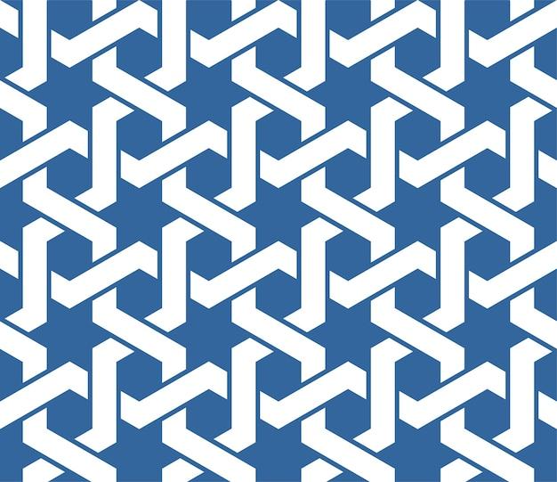 Ornamento árabe azul transparente con patrón de líneas entrelazadas