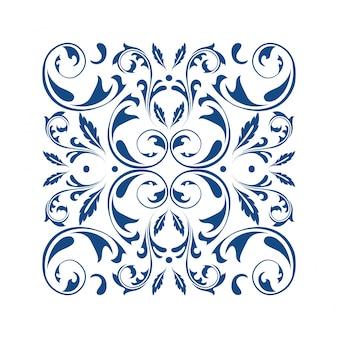 Ornamento cuadrado oriental vector con elementos arabescos
