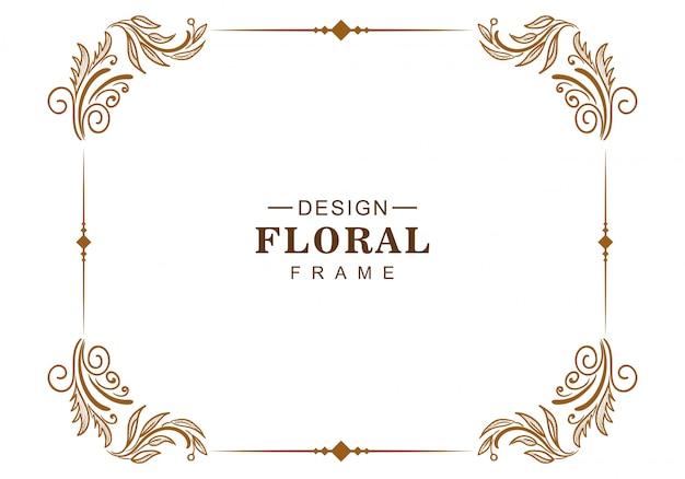 Ornamento decorativo diseño de marco floral creativo.