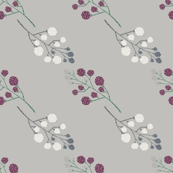Ornamento del doodle de blackberry con patrones sin fisuras de bayas blancas y púrpuras.
