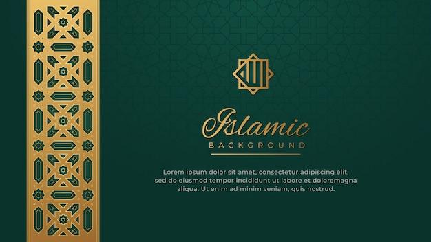Ornamento dorado lujo islámico frontera patrón arabesco fondo verde