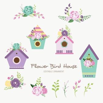 Ornamento editable de flower bird house