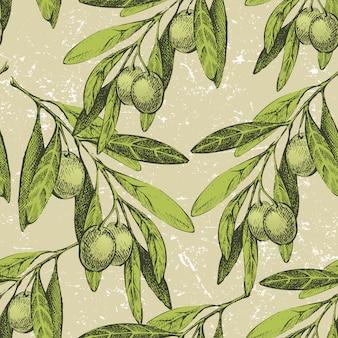 Ornamento sin fisuras con ramas de olivo dibujadas a mano