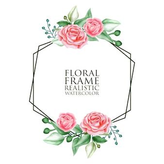 Ornamento floral acuarela para invitación de boda y tarjeta de regalo