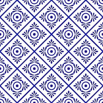 Ornamento floral en estilo de damasco telón de fondo acuarela, patrón transparente azul y blanco